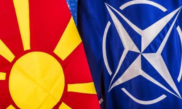 Macedonia and NATO flags